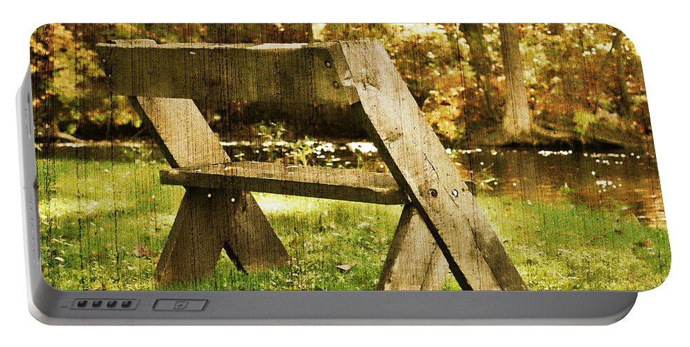 Bench Portable Battery Charger featuring the photograph Have A Seat by Joel Witmeyer