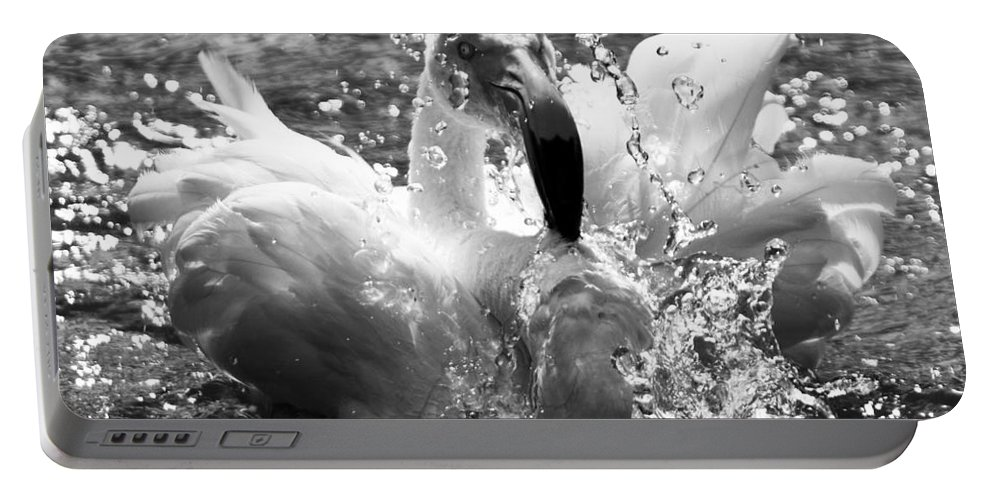Flamingo Portable Battery Charger featuring the photograph Having A Bath by Angel Ciesniarska