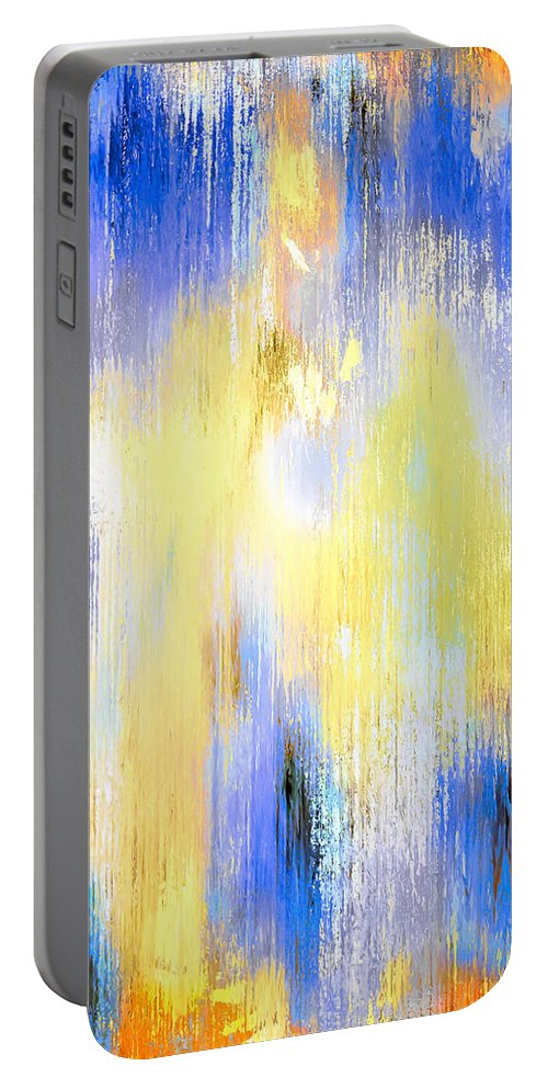 Abstract Portable Battery Charger featuring the painting Having Morning Coffee by Wayne Cantrell