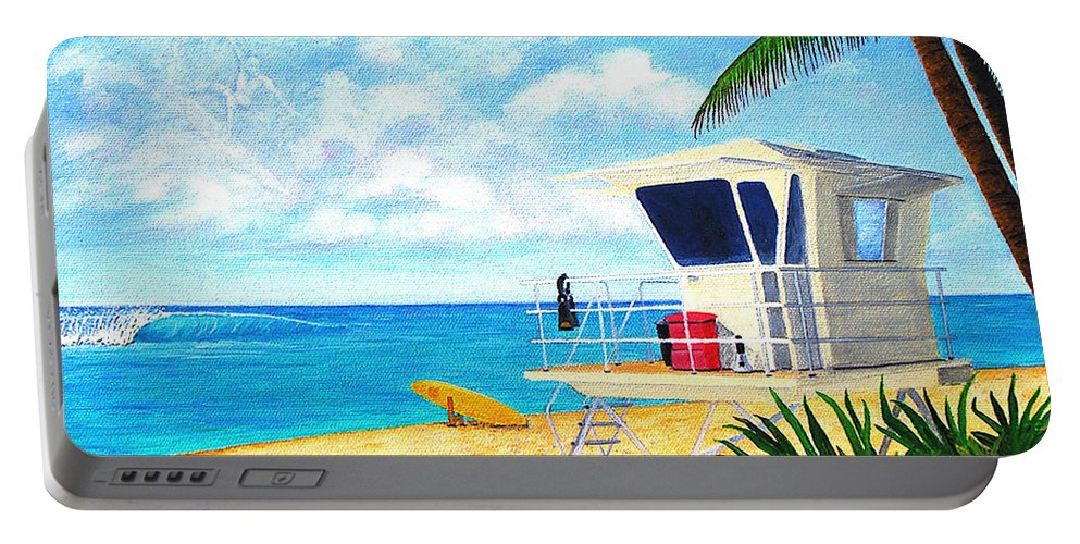 Hawaii Portable Battery Charger featuring the painting Hawaii North Shore Banzai Pipeline by Jerome Stumphauzer