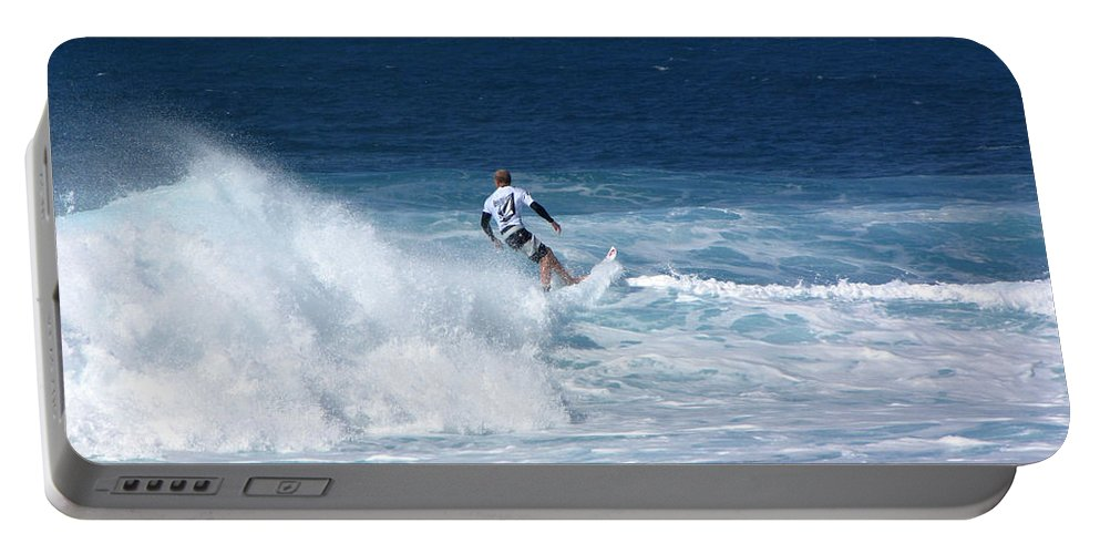 Surfer Portable Battery Charger featuring the photograph Hawaii Pipeline Surfer by Sarah Houser