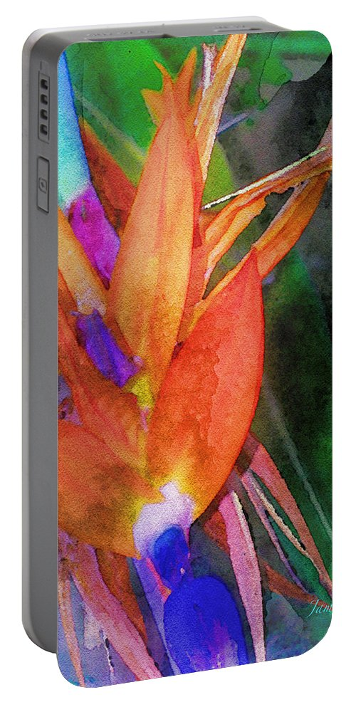 Bird Of Paradise Portable Battery Charger featuring the digital art Hawaiian Abstract by James Temple