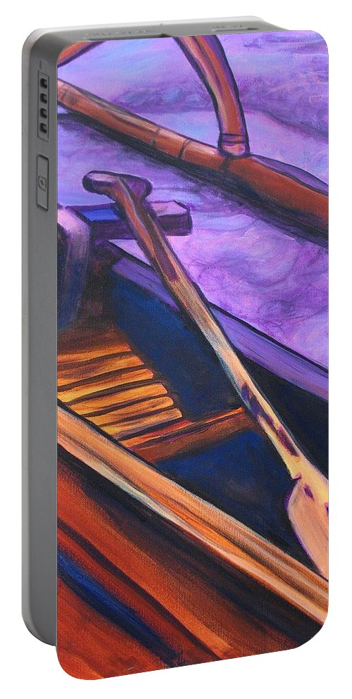 Canoe Portable Battery Charger featuring the painting Hawaiian Canoe by Marionette Taboniar