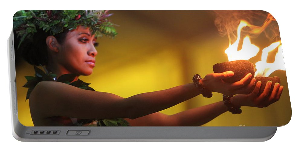 Fire Portable Battery Charger featuring the photograph Hawaiian Dancer And Firepots by Nadine Rippelmeyer