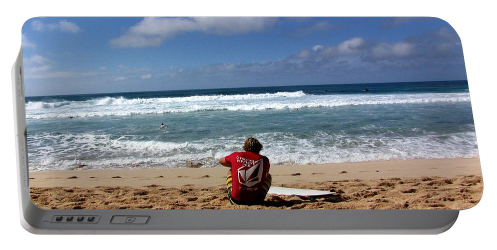 Surfer Portable Battery Charger featuring the photograph Hawaiian Surfer by Sarah Houser