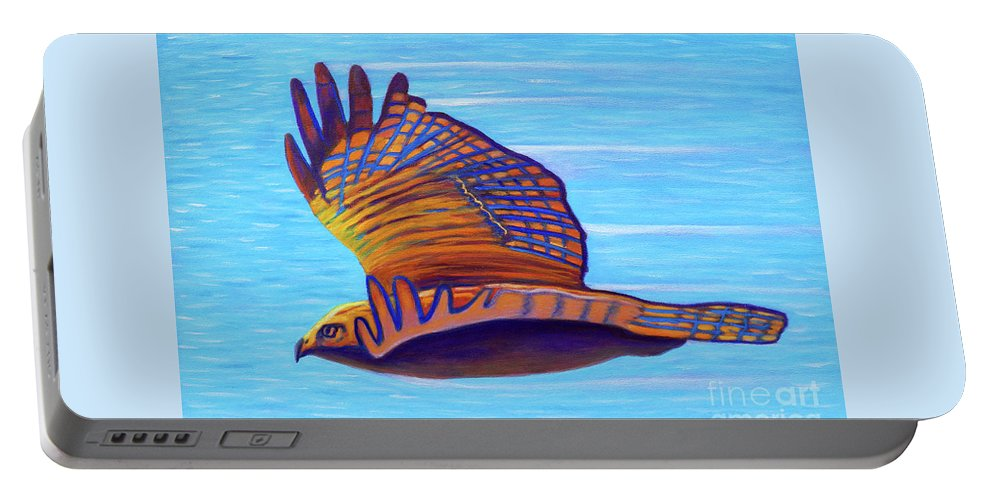 Hawk Portable Battery Charger featuring the painting Hawk Speed by Brian Commerford