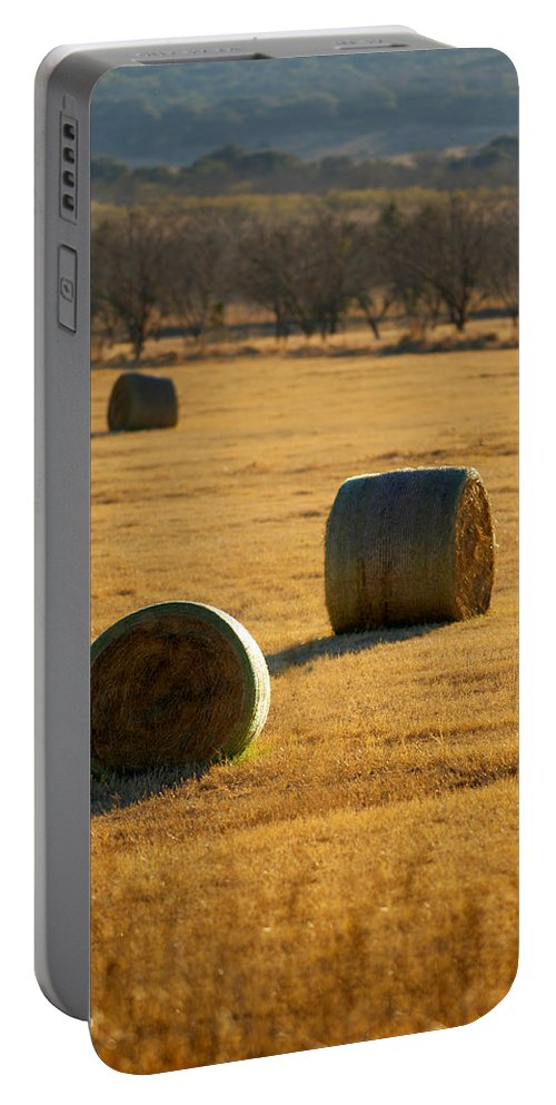 Country Portable Battery Charger featuring the photograph Hay Bales by Jill Reger