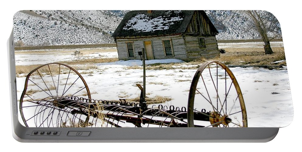 Utah Portable Battery Charger featuring the photograph Hay Rake At Butch Cassidy by Nelson Strong