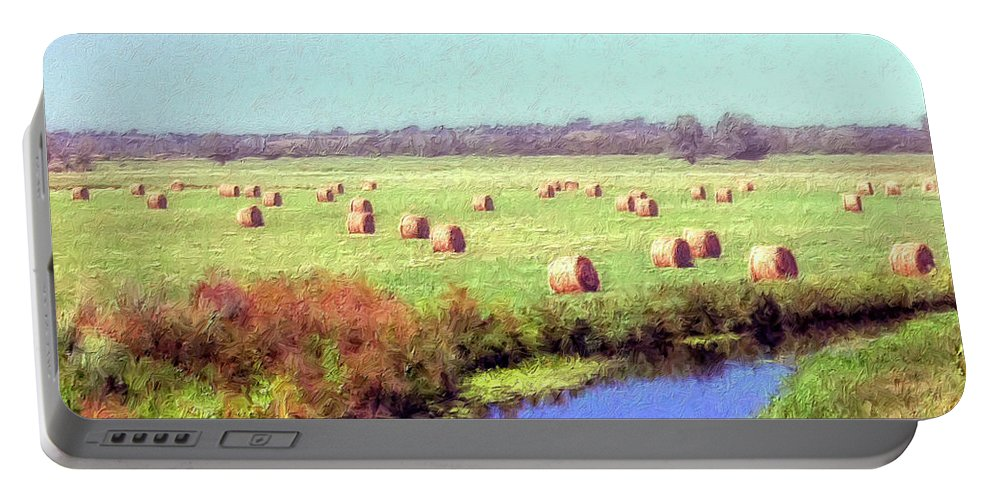 Hay Rolls Portable Battery Charger featuring the painting Hay Rolls by Dominic Piperata