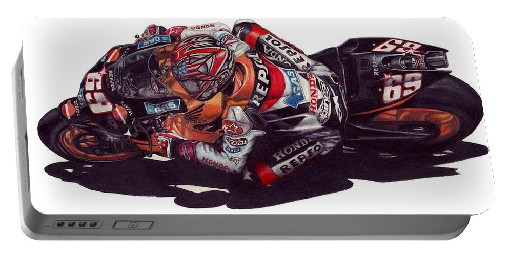 Nicky Hayden Portable Battery Charger featuring the drawing Hayden by Kristen Wesch