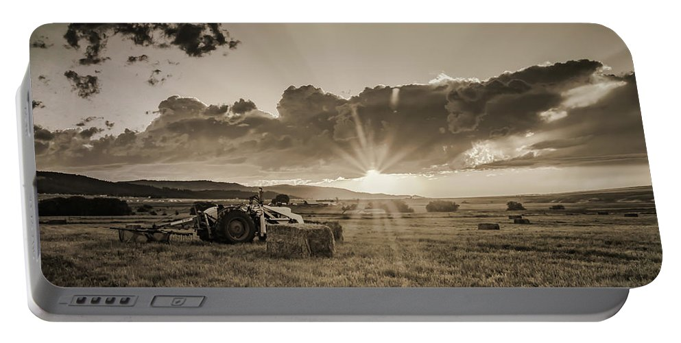 Tractor Portable Battery Charger featuring the photograph Haying Time by Don Schwartz