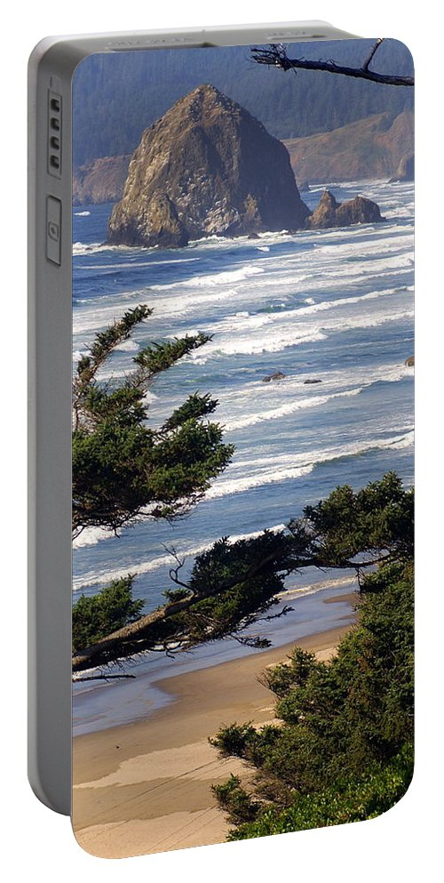 Ocean Portable Battery Charger featuring the photograph Haystak Rock Through The Trees by Marty Koch