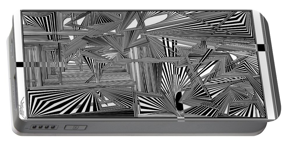 Dynamic Black And White Portable Battery Charger featuring the digital art Hceepsfoerugif by Douglas Christian Larsen