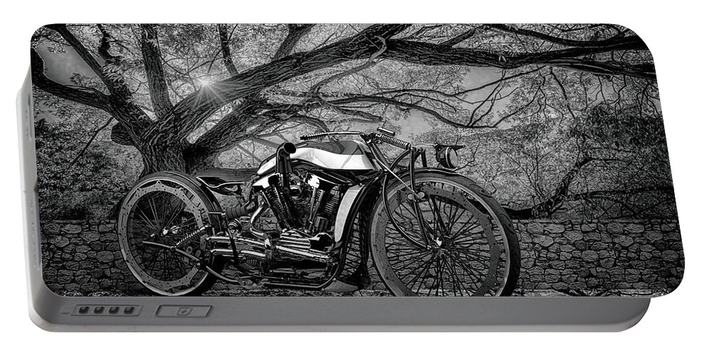 Bw # Motorcycle 3 Blackandwhite # Motorbike # Chrome # Cafe Racer # Caferacer # Cafe Racers# Bobbers # Street Trackers# Cafe Racers # Bobbers# Street Trackers# Custom Motorcycle #old School # Classic Motorcycle # Old School Portable Battery Charger featuring the photograph Hd Cafe Racer by Louis Ferreira