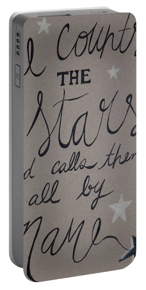 God Bible Verse Stars Ink Paper Inspiration He Counts The Stars And Calls Them All By Name Antique Rustic Religious Rustic Farmhouse Home Decor Baby Nursery Portable Battery Charger featuring the drawing He Counts The Stars by Anne Seay