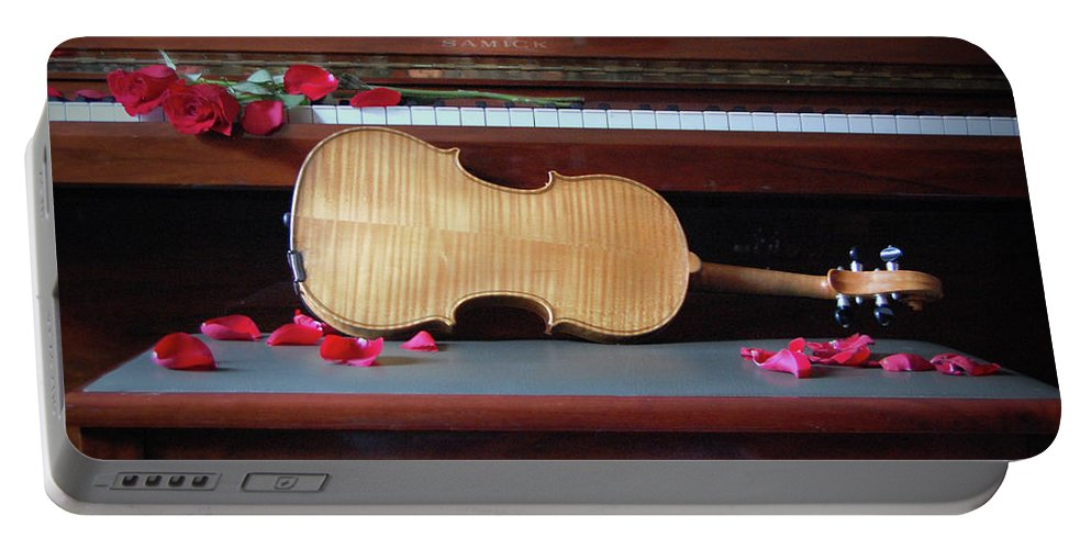 Violin Portable Battery Charger featuring the photograph Love And Music by Jacqueline Dickens