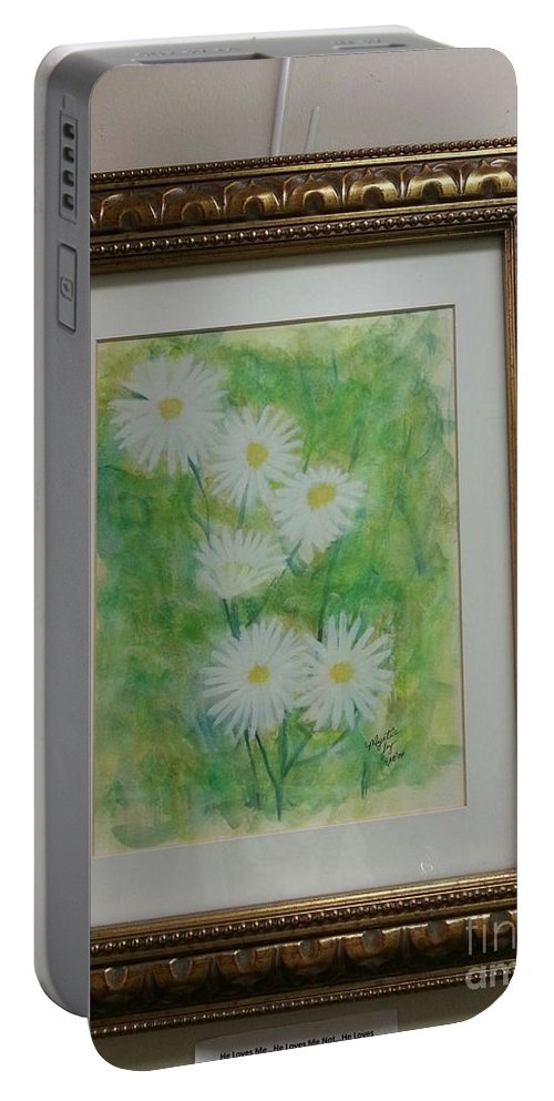 Daisies With An Abstract Background Portable Battery Charger featuring the He Loves Me....he Loves Me Not...he Loves Me by Myrtle Joy