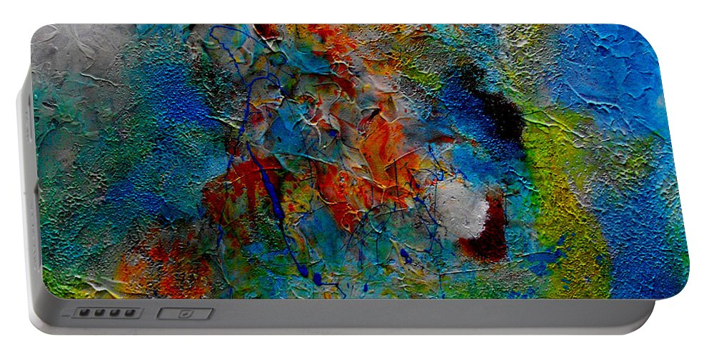 ruth Palmer Abstract Christian Contemporary Color Faith Religion Bible God Jesus Spiritual Texture Portable Battery Charger featuring the painting He Loves Us Inspite Of Ourselves by Ruth Palmer