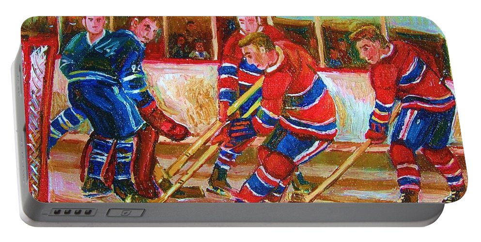 Hockey Portable Battery Charger featuring the painting He Shoots  He Scores by Carole Spandau