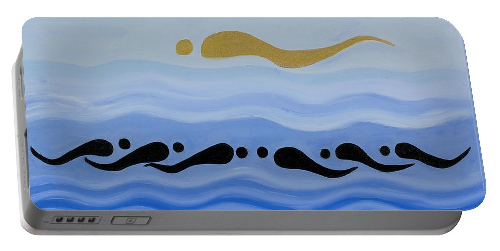 He Tu Water Portable Battery Charger featuring the painting He Tu Water by Adamantini