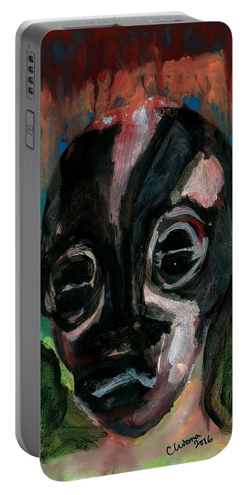 Abstract Head Portable Battery Charger featuring the painting Head by Chioma Anah