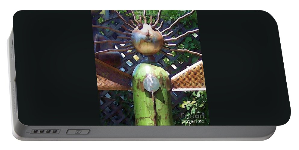Sculpture Portable Battery Charger featuring the photograph Head For Detail by Debbi Granruth