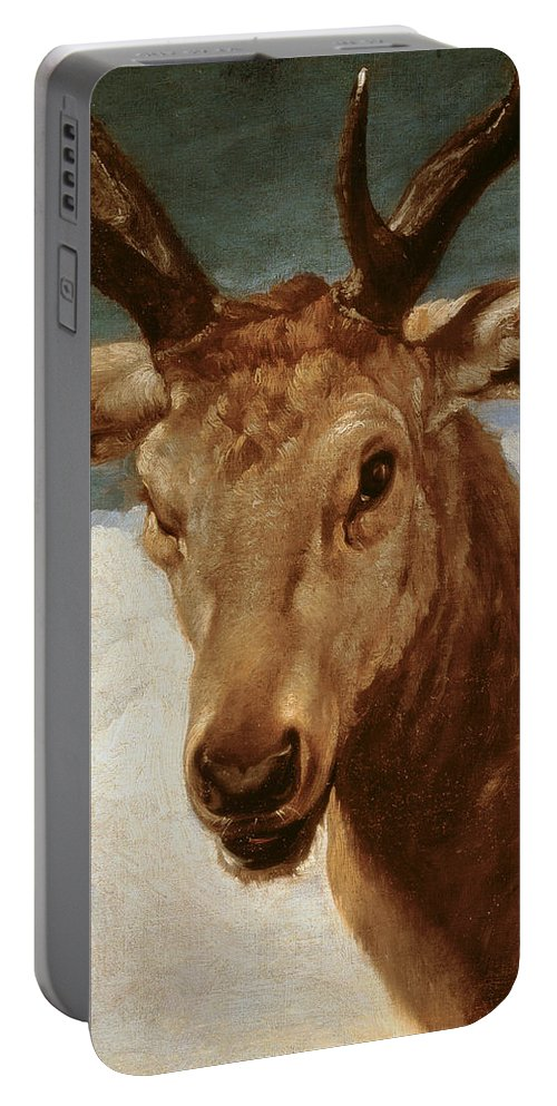 Head Portable Battery Charger featuring the painting Head Of A Stag by Diego Rodriguez de Silva y Velazquez