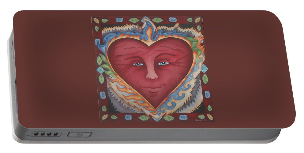 Heart Portable Battery Charger featuring the painting Headheartandspirit.jpg by Jeniffer Stapher-Thomas