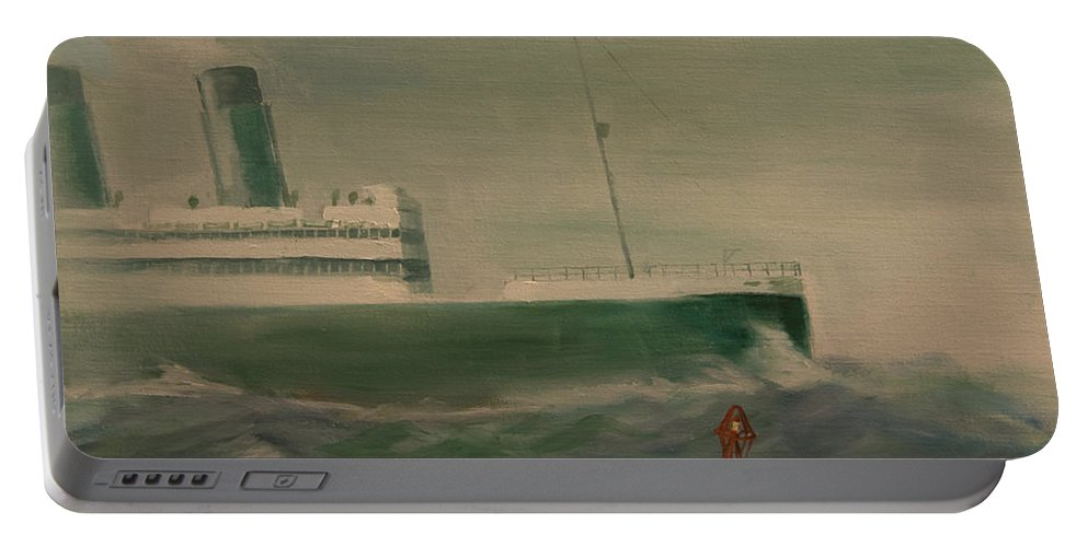 Ship Portable Battery Charger featuring the painting Heading In by Christopher Jenkins