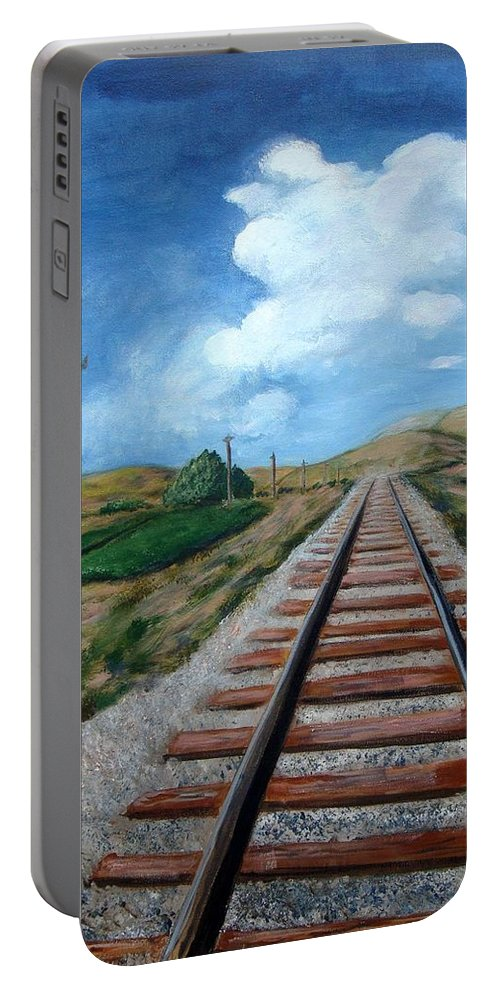 Railroad Tracks Portable Battery Charger featuring the painting Heading In The Right Direction by Laurie Morgan