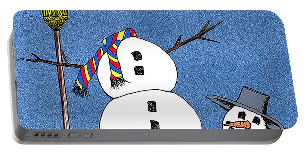 Snowman Portable Battery Charger featuring the digital art Headless Snowman by Nancy Mueller