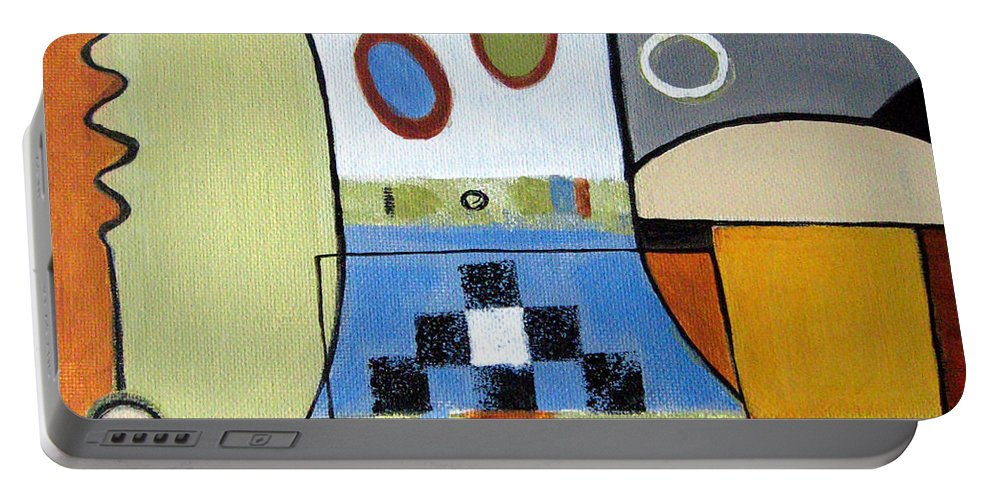 Abstract Portable Battery Charger featuring the painting Headspin by Ruth Palmer