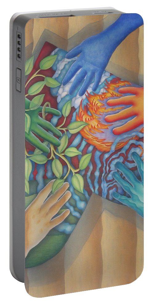 Nature. Love Portable Battery Charger featuring the painting Healing Hands Of Love by Jeniffer Stapher-Thomas