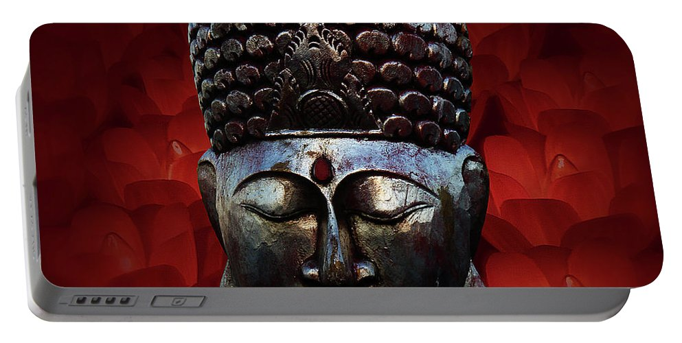 Buddha Head Portable Battery Charger featuring the photograph Healing Lights 3 by Xueling Zou