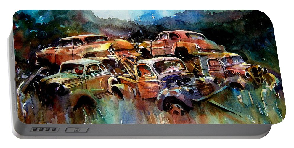 Cars Portable Battery Charger featuring the painting Heaped Wrecks by Ron Morrison