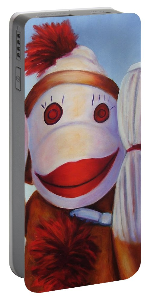 Children Portable Battery Charger featuring the painting Hear No Bad Stuff by Shannon Grissom