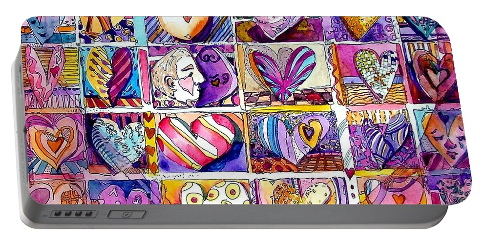 Love Portable Battery Charger featuring the painting Heart 2 Heart by Mindy Newman
