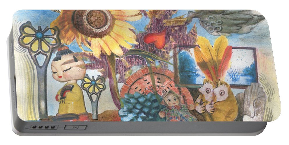 Abstract Portable Battery Charger featuring the painting Heart And Soul by Valerie Meotti