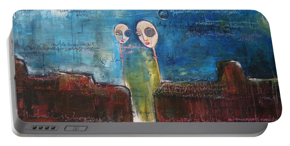 From The Lollipop Love Series Portable Battery Charger featuring the painting Heart Beats The Same by Laurie Maves ART