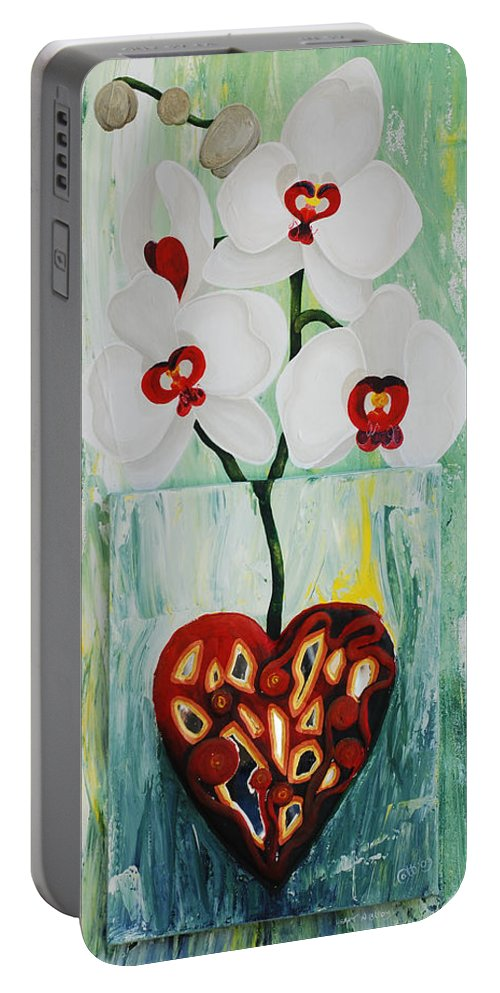 Heart In Bloom Portable Battery Charger featuring the painting Heart In Bloom by Catt Kyriacou