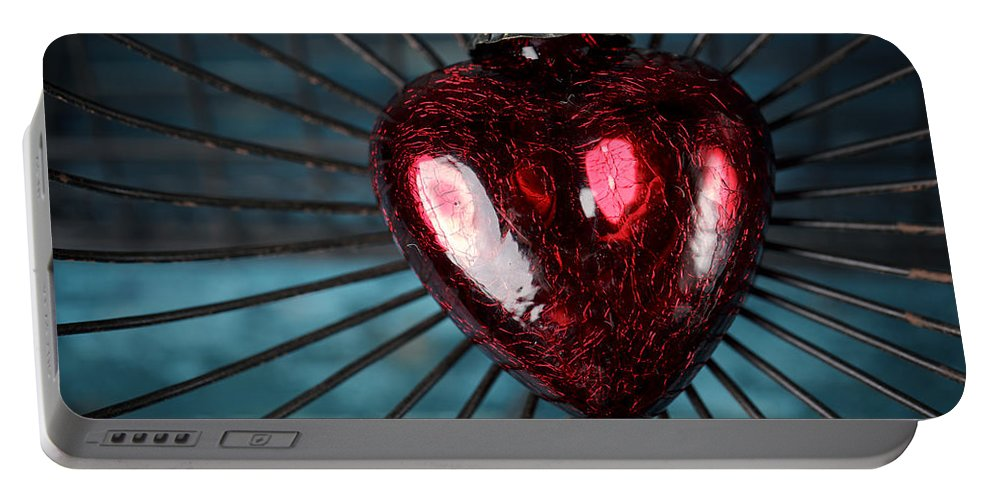 Heart Portable Battery Charger featuring the photograph Heart In Cage by Nailia Schwarz