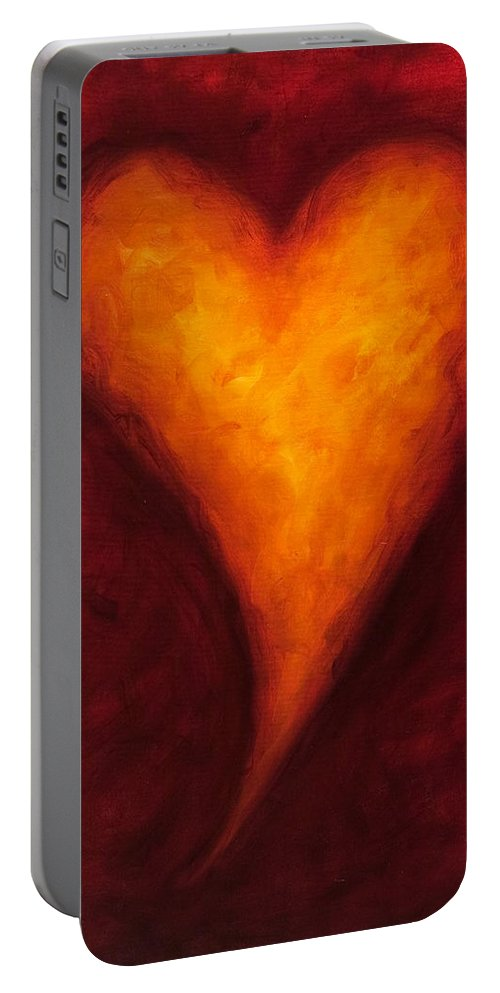 Heart Portable Battery Charger featuring the painting Heart Of Gold 2 by Shannon Grissom