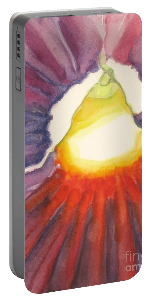 Floral Watercolour Painting Portable Battery Charger featuring the painting Heart Of The Flower by Inese Poga