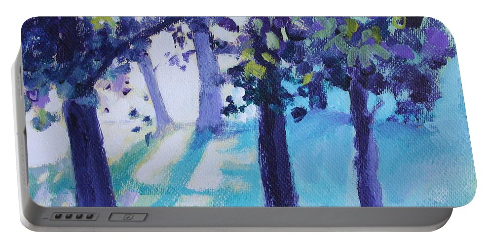 Expressionist Portable Battery Charger featuring the painting Heart Of The Forest by Jan Bennicoff