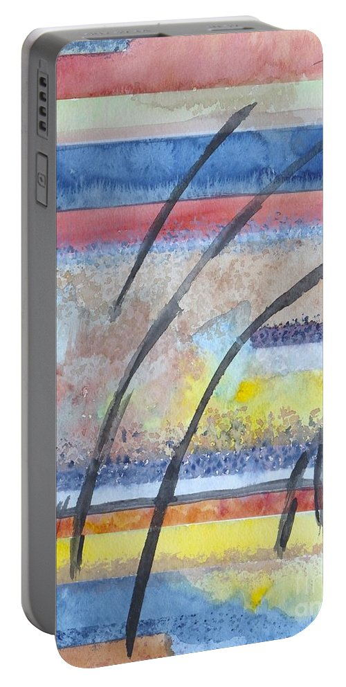 Abstract Portable Battery Charger featuring the painting Heartbeat by Jacqueline Athmann