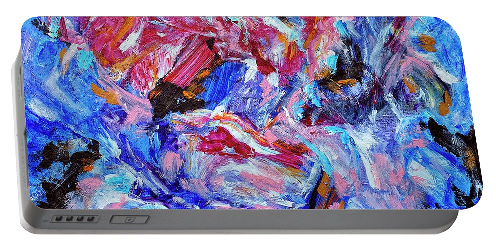 Abstract Portable Battery Charger featuring the painting Heartbreaker by Dominic Piperata