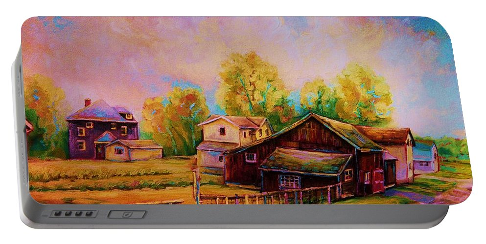 Landscape Portable Battery Charger featuring the painting Hearth And Home by Carole Spandau