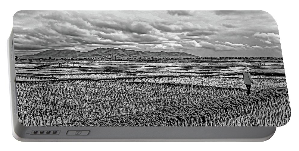 Rice Portable Battery Charger featuring the photograph Heartland Bw by Steve Harrington