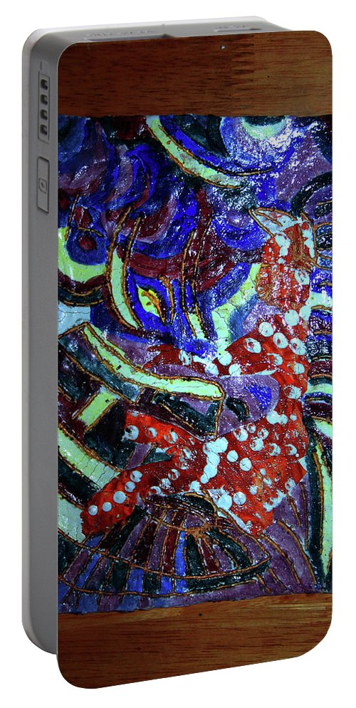 Plaquesmamamama Africa Twojesus Portable Battery Charger featuring the ceramic art Hearts Drum 7 by Gloria Ssali