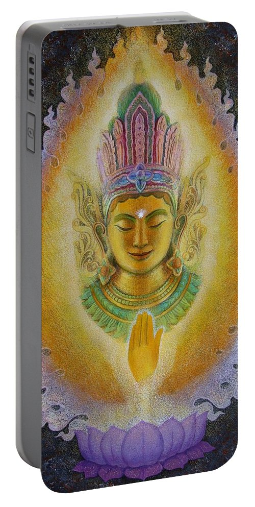 Buddha Portable Battery Charger featuring the painting Heart's Fire Buddha by Sue Halstenberg